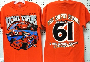 Richie Evans #61 3 car orange tee shirt